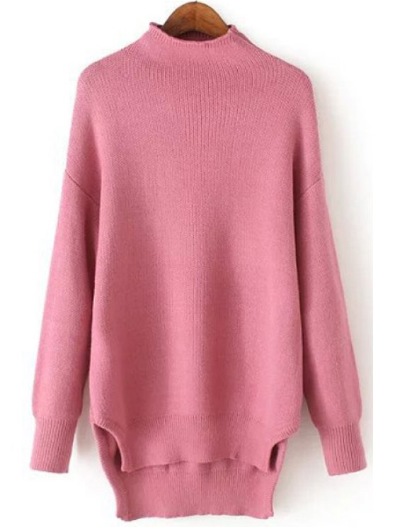 best Half-Collar Side Slit Jumper - PINK ONE SIZE(FIT SIZE XS TO M)