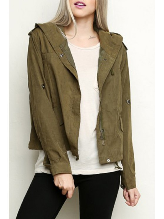 latest Army Green Hooded Long Sleeve Coat - ARMY GREEN XL