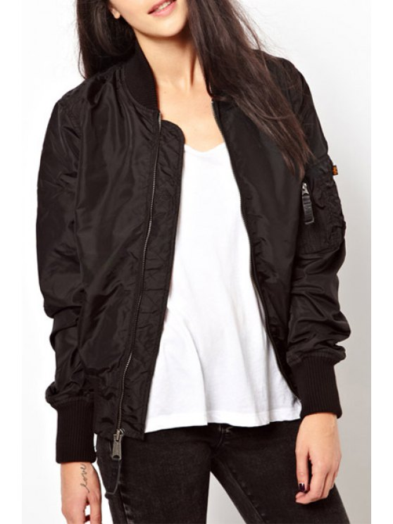 buy Pure Color Stand Collar Baseball Jacket - BLACK S