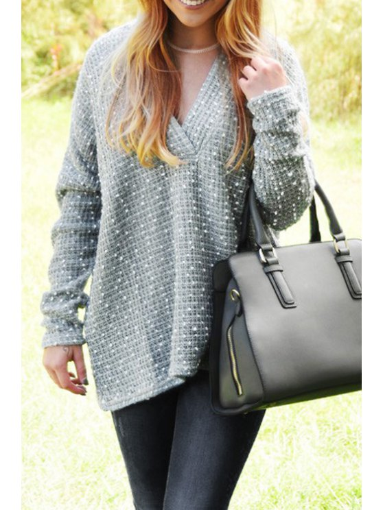 womens Loose Fitting Plunging Neck Long Sleeves Sweater - GRAY S