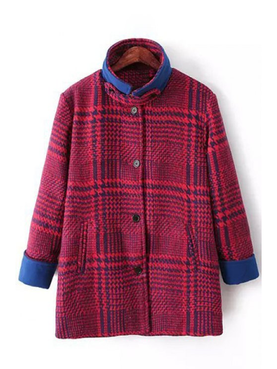 unique Funnel Collar Single-Breasted Wool Coat - BLUE AND RED S