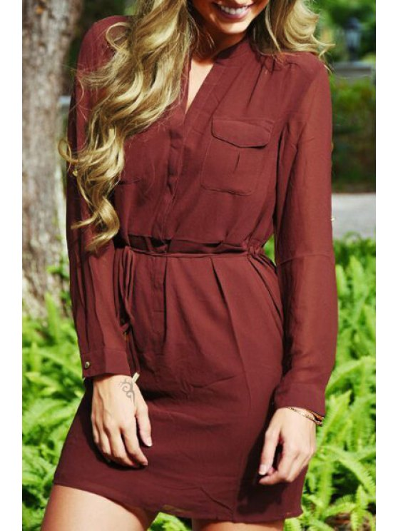 ladies Solid Color Waisted Long Sleeves Dress - BRICK-RED S
