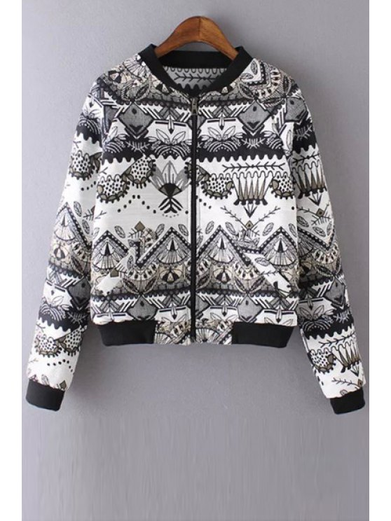 hot Stand Neck Printed Quilted Jacket - WHITE S