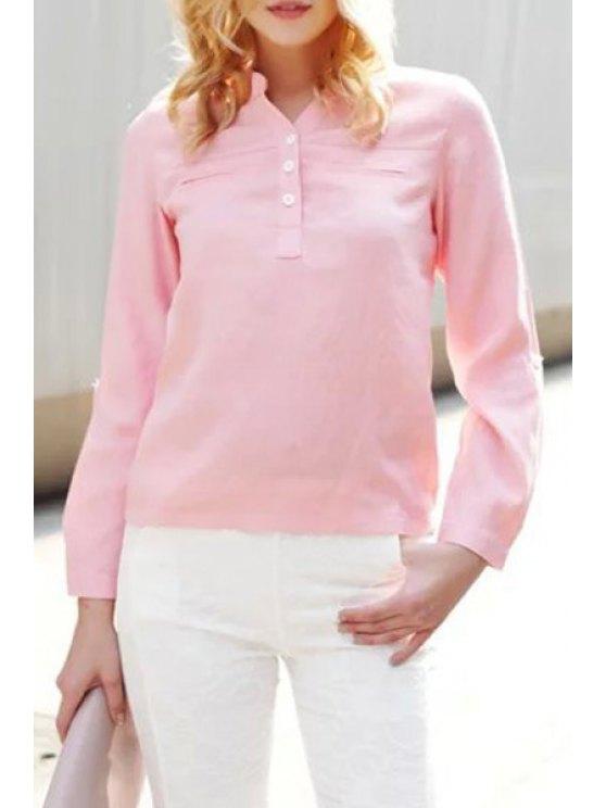 trendy V-Neck Rolled Sleeve Pink Shirt - PINK M