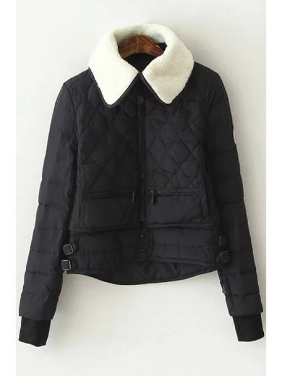 shop Turn-Down Collar Checked Quilted Jacket - BLACK S