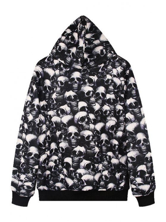 womens Skull Print Long Sleeve Pullover Hoodie - BLACK ONE SIZE(FIT SIZE XS TO M)