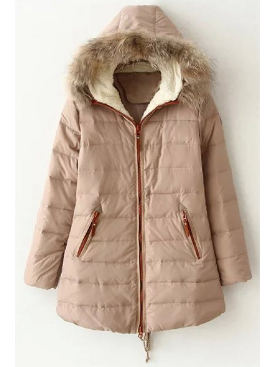 buy Hooded Faux Fur Collar Quilted Coat - OFF-WHITE L