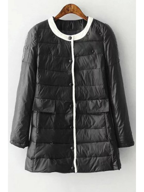 best Round Neck Single-Breasted Quilted Coat - BLACK L