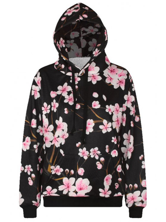 ladies Flowers Print Long Sleeve Pullover Hoodie - BLACK ONE SIZE(FIT SIZE XS TO M)