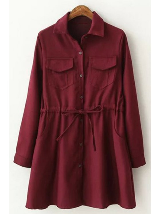 buy Turn-Down Collar Single-Breasted Skirted Coat - RED S
