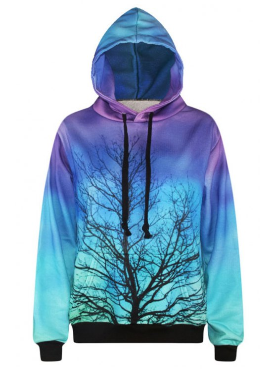outfits Branch Print Long Sleeve Pullover Hoodie - PURPLE ONE SIZE(FIT SIZE XS TO M)
