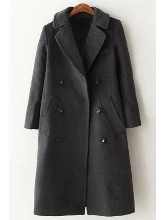 best Lapel Long Sleeve Double-Breasted Wool Coat - GRAY S