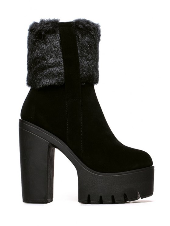 womens Chunky Heel Platform Black High Heel Boots - BLACK 35