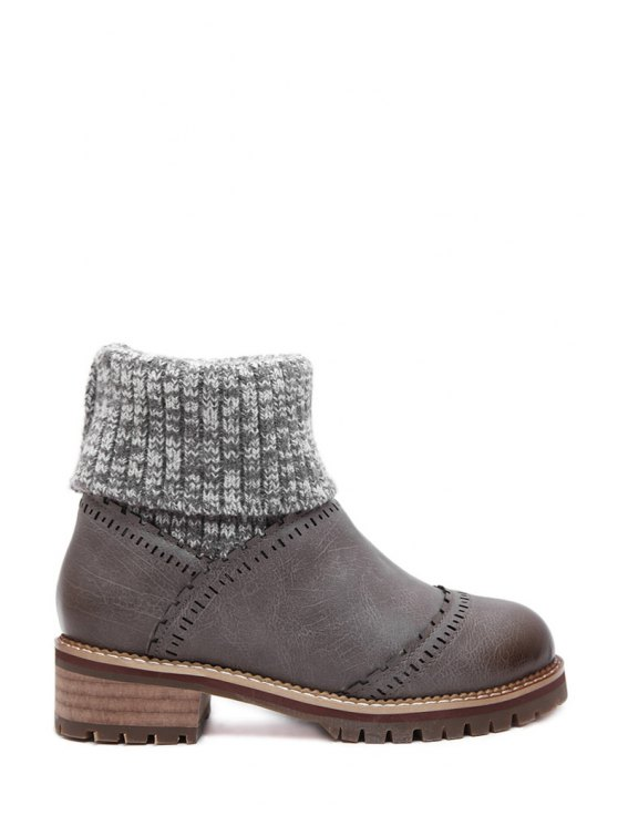 outfit Knitting Splicing Engraving Sweater Boots - GRAY 35