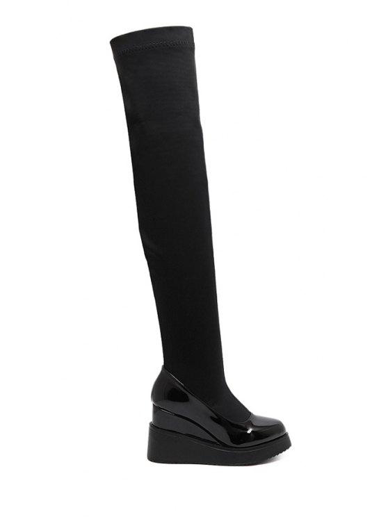 fashion Black Splicing Wedge Heel Thigh Boots - BLACK 35