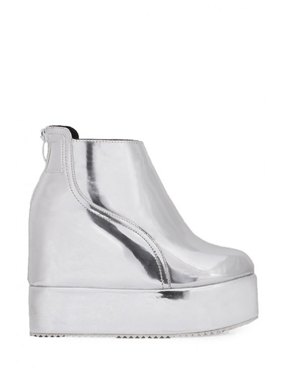 chic Metallic Color Hidden Wedge Platform Ankle Boots - SILVER 34