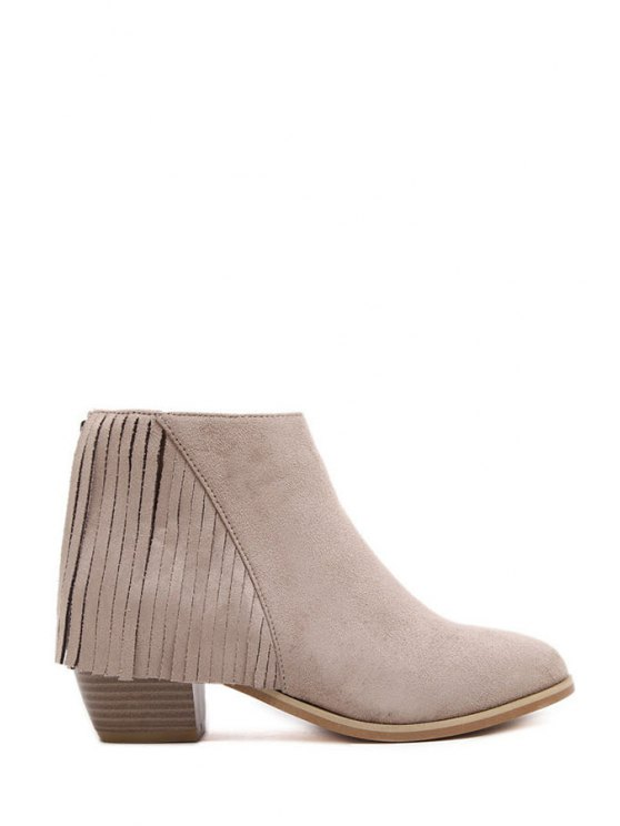 online Solid Color Fringe Suede Ankle Boots - APRICOT 35