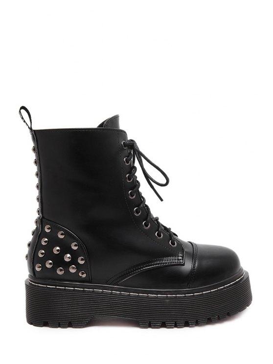 ladies Platform Rivet Black Short Boots - BLACK 35
