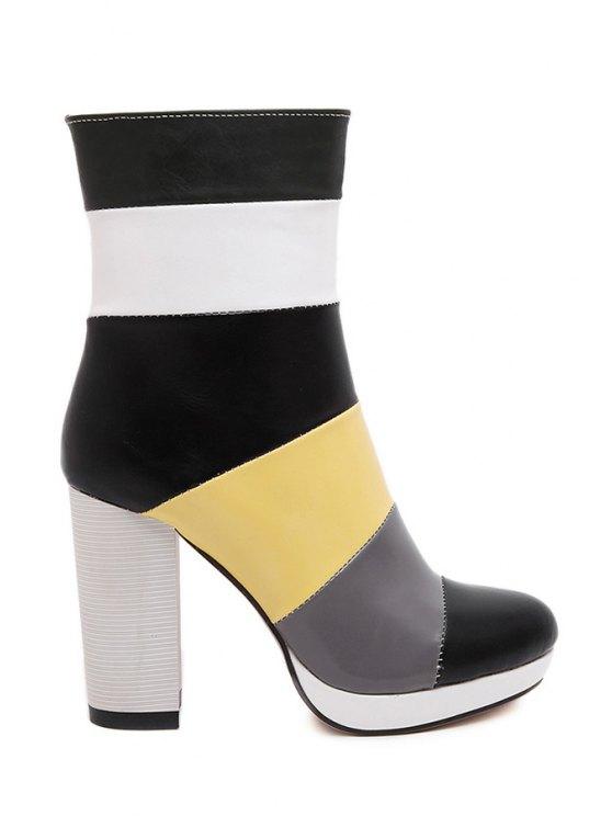 unique Chunky Heel Color Block High Heel Boots - BLACK 35