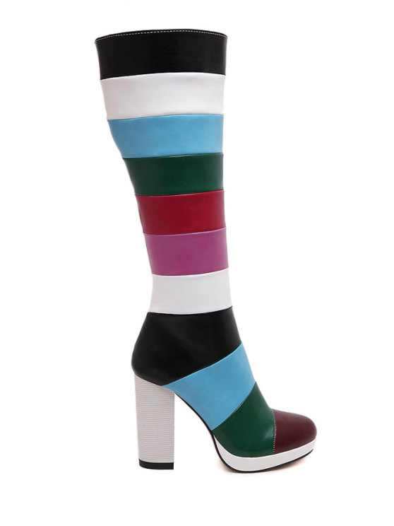 outfits Chunky Heel Color Block Mid-Calf Boots - RED 35
