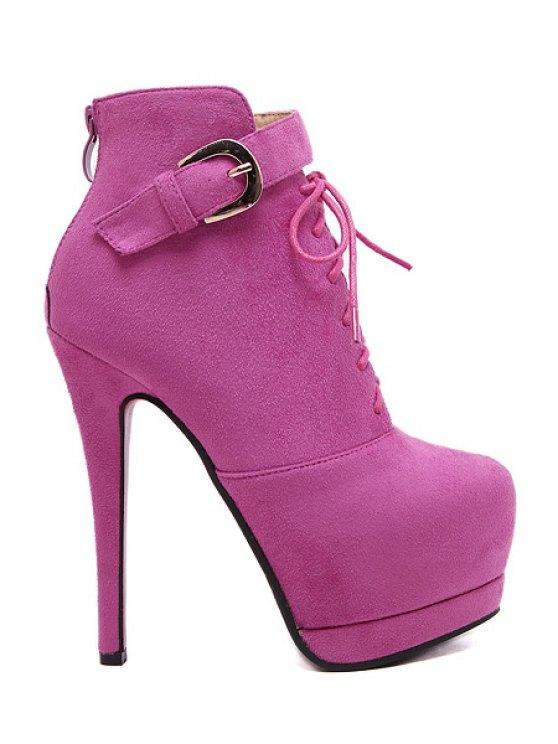 fashion Suede Buckle Platform High Heel Boots - ROSE 34