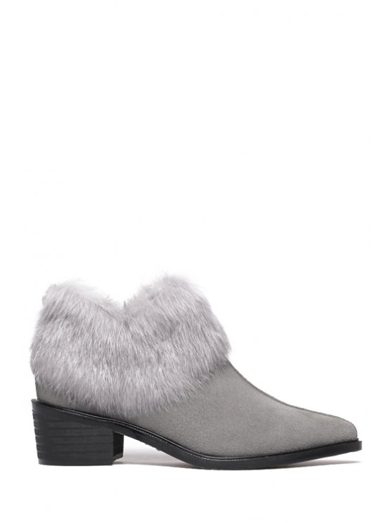 best Pointed Toe Faux Fur Suede Ankle Boots - GRAY 35