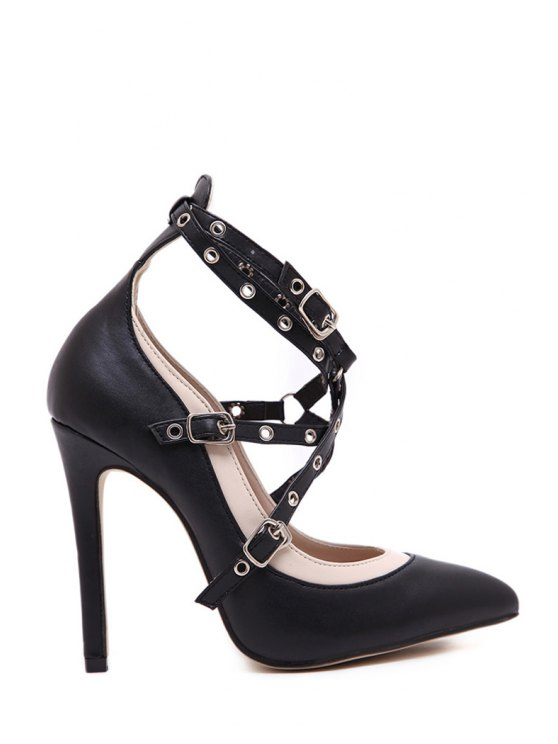 new Criss-Cross Buckles Pointed Toe Pumps - BLACK 35