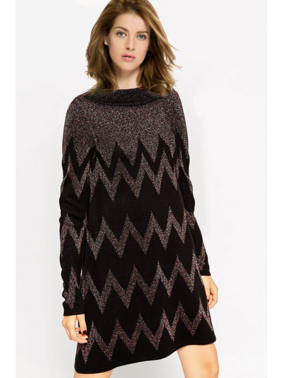 outfit Zig Zag Long Sleeve Sweater Dress - BLACK S