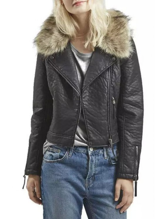 lady Convertible Faux Fur Collar PU Leather Jacket - BLACK M