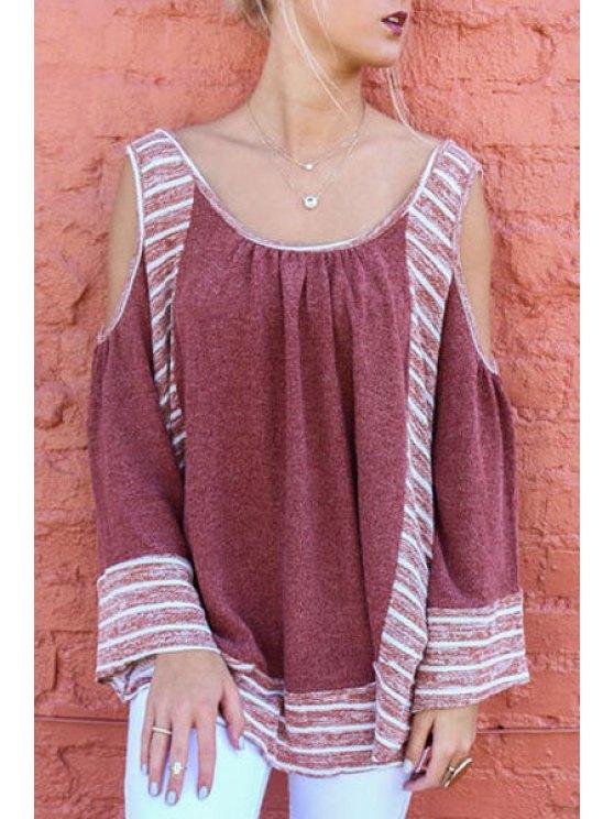 fashion Scoop Neck Long Sleeve Cutout Blouse - CLARET XL