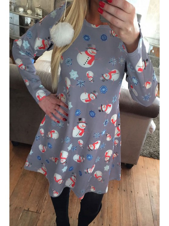 womens Santa Claus Snowflake Print Long Sleeves T-Shirt Dress - GRAY S