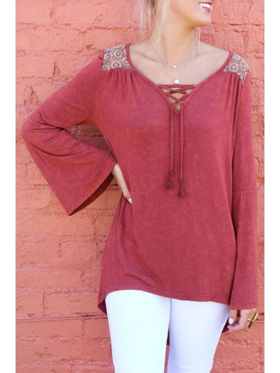 affordable Long Sleeve Lace Spliced Hollow Back T-Shirt - CLARET L
