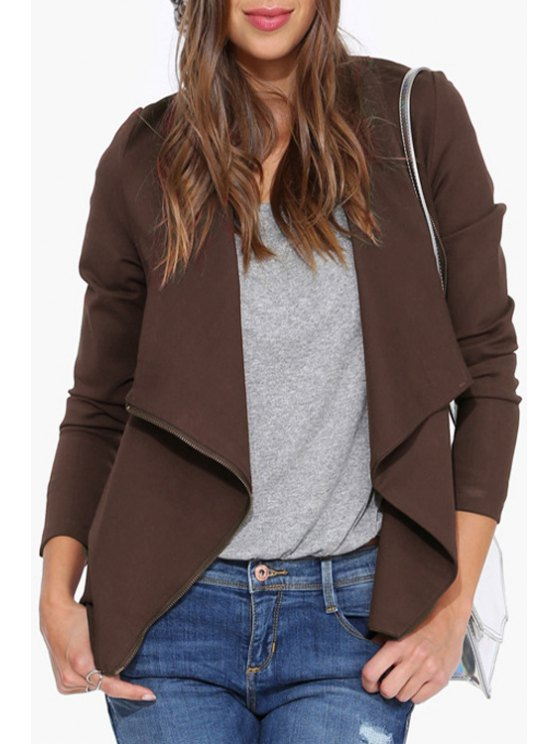 buy Turn-Down Collar Zippered Jacket - DUN S