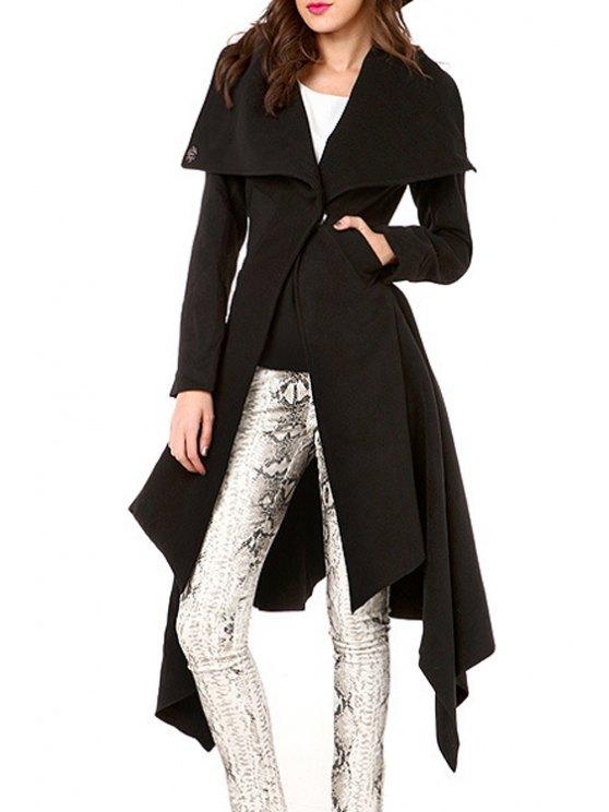 fashion Large Lapel Two Pockets Dovetail Coat - BLACK L