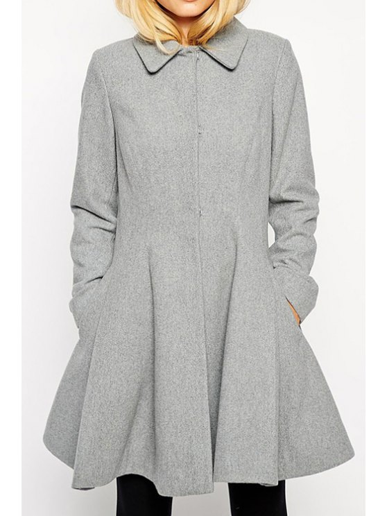 chic Single-Breasted Gray Cocktail Coat - GRAY XS