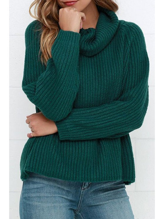 unique Solid Color Loose Fitting Heaps Collar Sweater - GREEN ONE SIZE(FIT SIZE XS TO M)