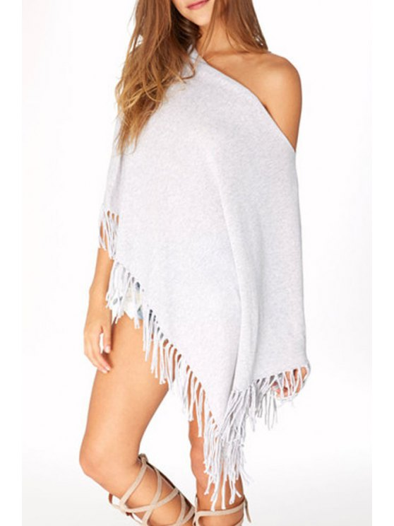 outfit Batwing Sleeve Fringed Irregular Fall Top - LIGHT GRAY XL