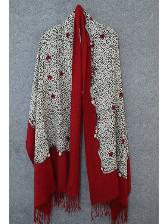 hot Leopard Print Tassel Pashmina - RED