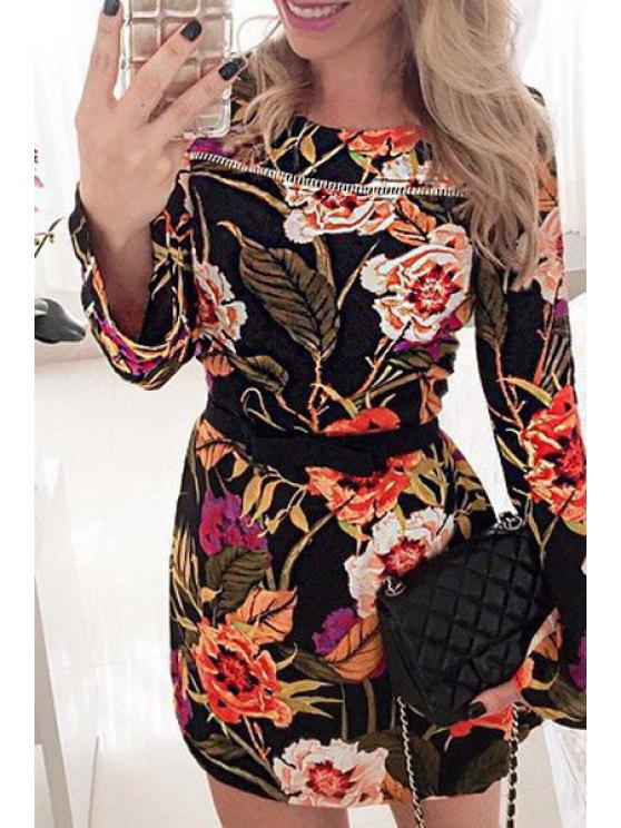 hot Round Neck Long Sleeve Floral Print Dress - BLACK S