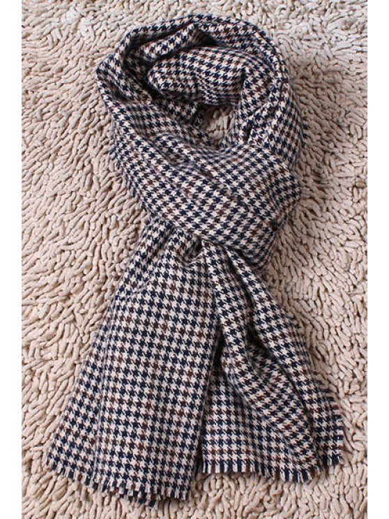 sale Houndstooth Fringed Scarf - BLACK