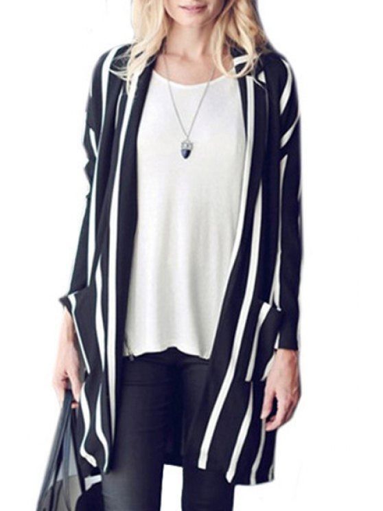 hot Stylish Turn-Down Collar Long Sleeve Vertical Stripes Women's Trench Coat - WHITE AND BLACK S
