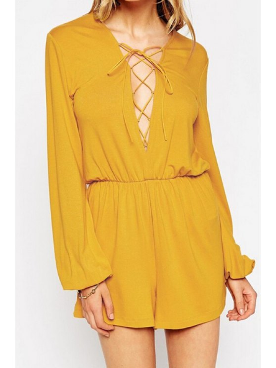 shops Plunging Neck Long Sleeve Lace-Up Playsuit - YELLOW S