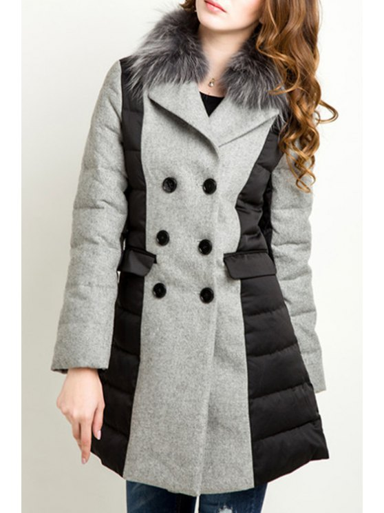 lady Color Block Faux Fur Collar Long Sleeves Down Coat - BLACK AND GREY M