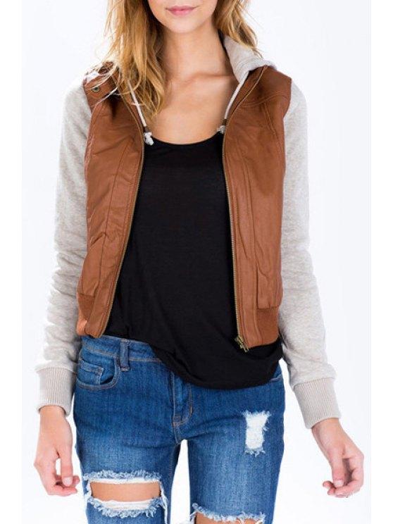 ladies Hooded PU Leather Spliced Jacket - BROWN XL