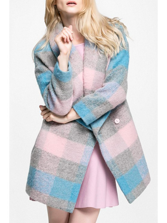 chic Color Block Checked Turn-Down Collar Woolen Coat - LIGHT PURPLE S