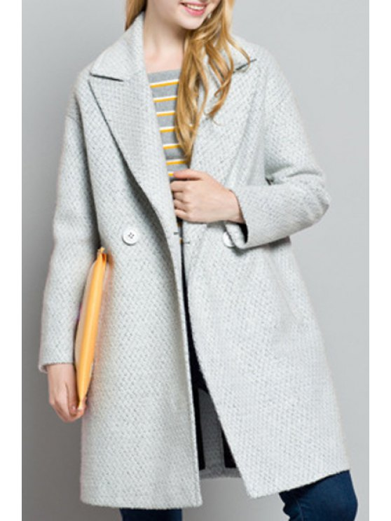 online Pockets Solid Color Turn-Down Collar Woolen Coat - GRAY L