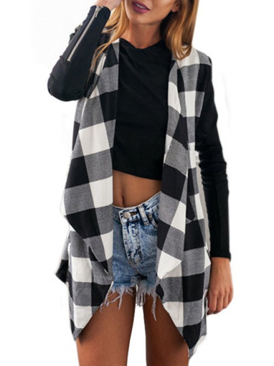 best Open Front Long Sleeve Plaid Trench Coat - WHITE AND BLACK S