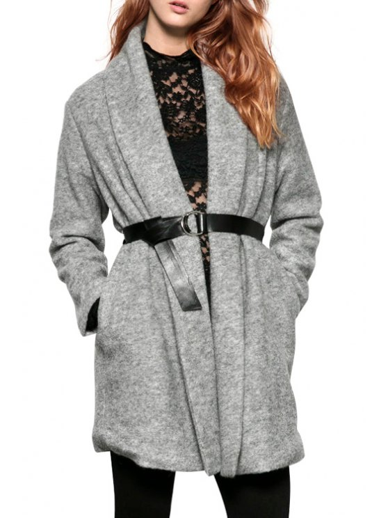 unique Pure Color Turn-Down Collar Long Sleeves Woolen Coat - GRAY S