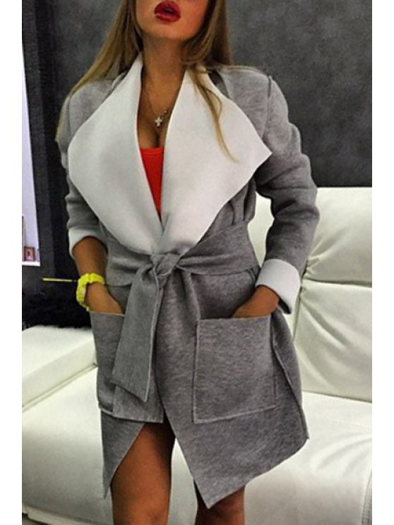 sale Large Lapel Big Pocket Self-Tie Belt Coat - GRAY XL