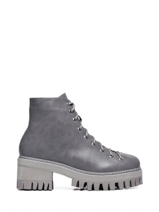 fashion Lace-Up Chunky Heel Platform Short Boots - GRAY 38